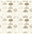 seamless background with beige doodle clouds can vector image