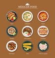 set mexican food flat design vector image