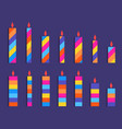set of colored candles striped candles in flat vector image vector image