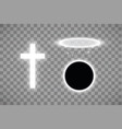 set of shining white cross and halo ring of white vector image