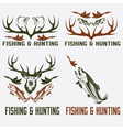 Set of vintage hunting and fishing labels and vector image vector image