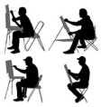 set silhouette artist at work on a white
