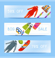 summer water beach sea sports banners activities vector image