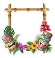 tiki mask and frame hawaii authentic background vector image vector image