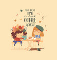 two cute girls friends drinking coffee at cafe vector image vector image
