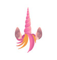 unicorn pink horn with hair and ears vector image