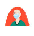 woman with bright red hair in a medical mask vector image