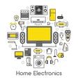 Home Electronics Appliances Thin Line Icons Set vector image