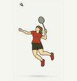 badminton female player action with racket vector image