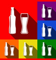 beer bottle sign set of icons with flat vector image vector image