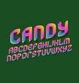candy alphabet colorful gradient festive font vector image