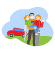 cartoon family travel car with baggage vector image vector image