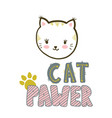 cat pawer cute little cat vector image vector image