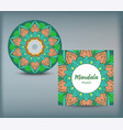 cd cover design template with floral mandala style vector image vector image