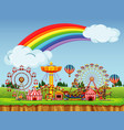 circus scene with rainbow in sky vector image vector image