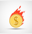 coin dollar on fire money burning in flames vector image vector image