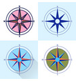 compass rose icon set in flat and line styles vector image