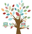 cute owl and tree vector image vector image