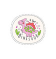 dinosaur is love patch badge cute cartoon pink vector image vector image