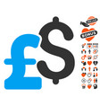 dollar and pound currency icon with valentine vector image vector image
