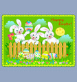 eggs hunting easter greeting card three cute vector image