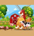 farm scene with animals vector image vector image