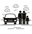father and mother with son silhouettes vector image vector image