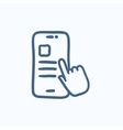 Finger touching smartphone sketch icon vector image vector image
