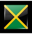 Flag of Jamaica Glossy Icon Square Shape vector image vector image