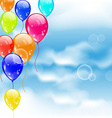 Flying colourful balloons in blue sky vector image vector image