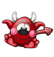 funny red devil with contours in the form of vector image vector image