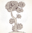 Grunge vintage Enchanted Tree bizarre vector image