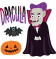 Halloween Dracula character with pumpkin and bat vector image vector image