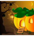 Halloween pumpkin house with lamp and bats on the