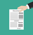 hand keeping an document and another hand keeping vector image vector image