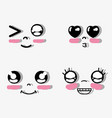 kawaii faces with funny expressions vector image vector image
