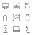 Line Icons Style Computer Icons Set Design vector image