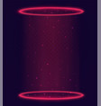 luminous magic portal teleport with red rings and vector image
