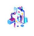 mobile app development - modern colorful isometric vector image