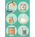 Office objects and elements of workplace icon set vector image