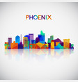 phoenix skyline silhouette in colorful geometric vector image vector image