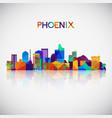 phoenix skyline silhouette in colorful geometric vector image