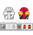 present box ribbon bow surprise gift line icon vector image vector image