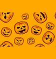 seamless halloween pattern with pumpkins on orange vector image