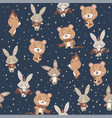 seamless pattern with cute bunny and bear vector image vector image