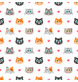 seamless pattern with funny cats and hearts vector image vector image