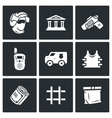 Security Bank and money transport icons set vector image vector image