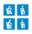 set detailed blue icons priority seats on vector image vector image