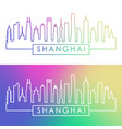 shanghai city skyline colorful linear style vector image vector image