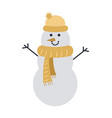 snowman isolated on white in yellow cap and scarf vector image
